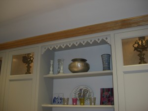 Shelving with decorative laser cut fretwork feature, Copyright Celtica Kitchens 2015