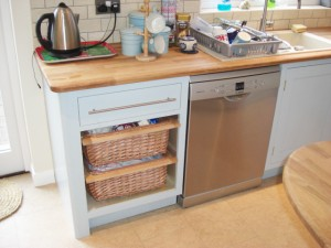 Duck Egg Blue Shaker Style Kitchen, Wooden Worktops, wicker basket storage, Copyright Celtica Kitchens 2014