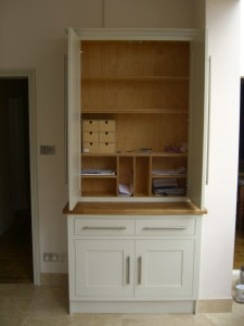 Tall Double Larder, Shaker Style Cabinet, Storage Solution, Office or Kitchen, Oak Lipped Shelves, Storage Compartmentss