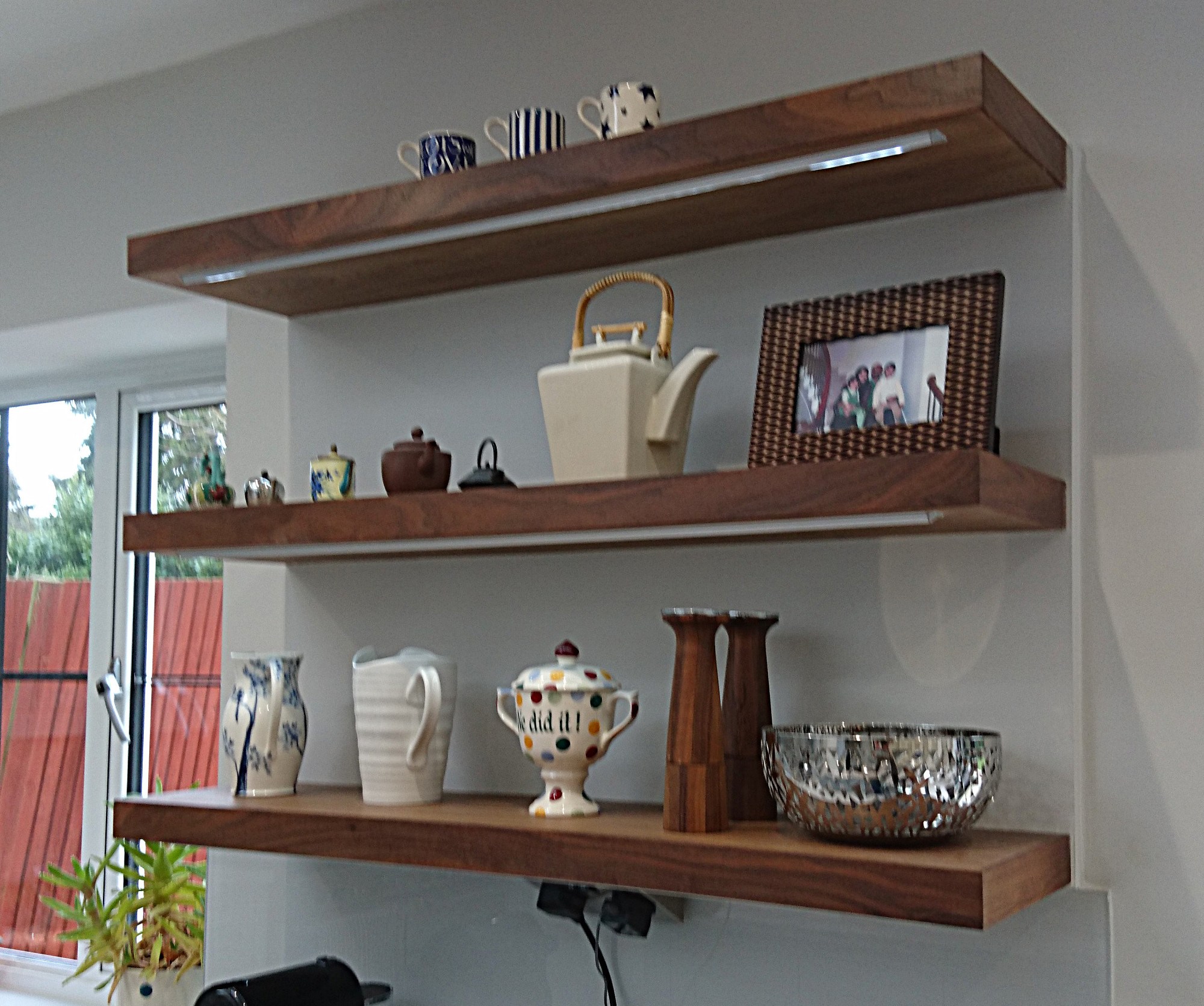 Kitchen Gallery Solihull: Floating Shelves In Walnut, LED Inset, By Celtica Kitchens