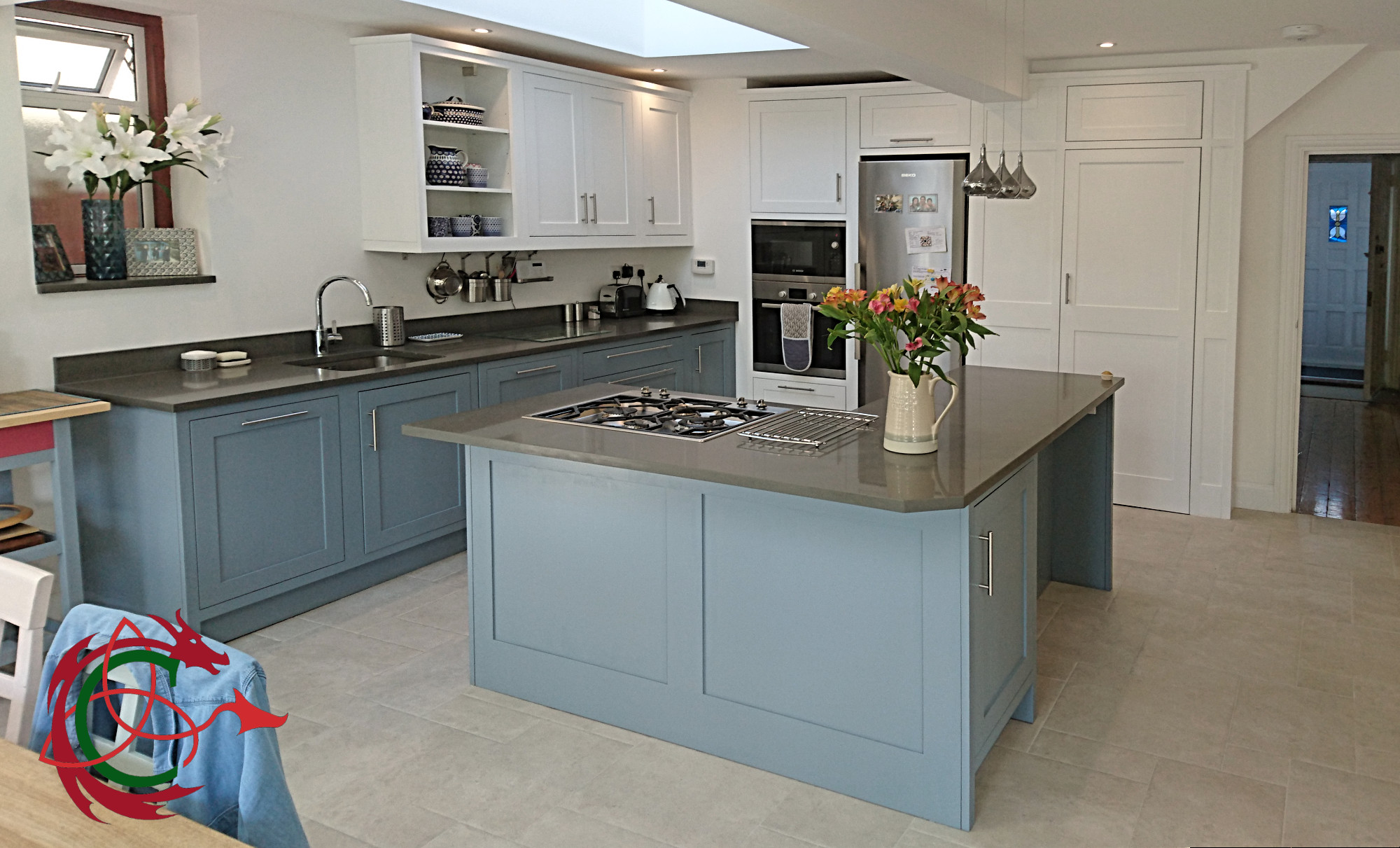 painted Shaker kitchen, two tone with island, North London 41 ...